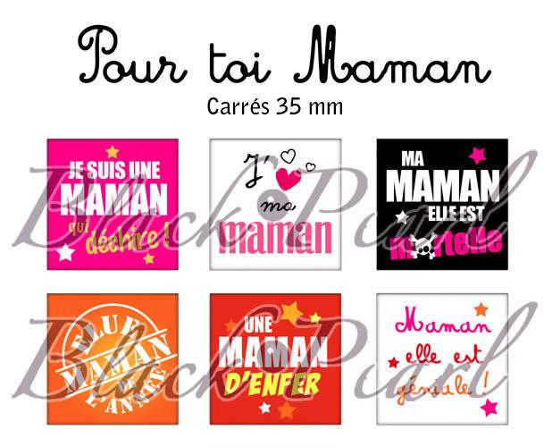 ° Pour Toi Maman ° - Page de collage cabochons - 15 images à imprimer