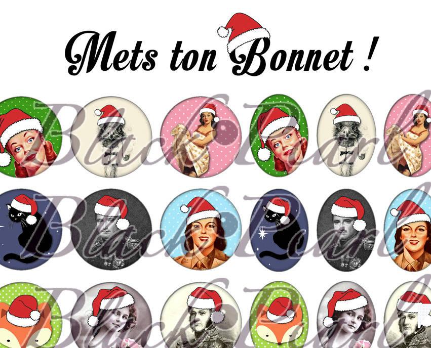 ° Mets ton Bonnet ! ° - Page de collage digital cabochons - 60 images à imprimer