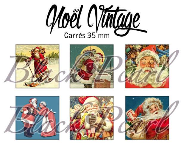 ° Noël Vintage °- Page de collage cabochons - 15 images