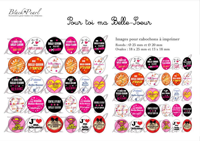 ° Pour toi ma Belle-Soeur ° - Page de collage digital cabochons - 60 images à imprimer