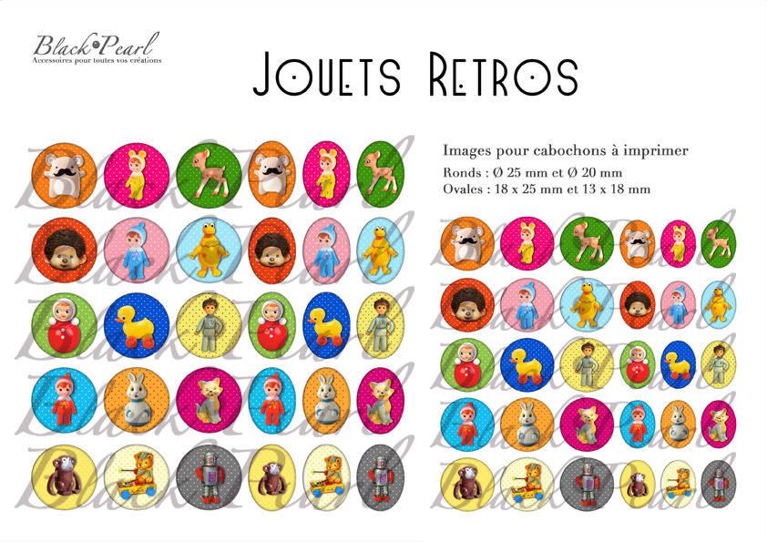 ° Jouets Retros ° - Page de collage digital pour cabochons - 60 images à imprimer