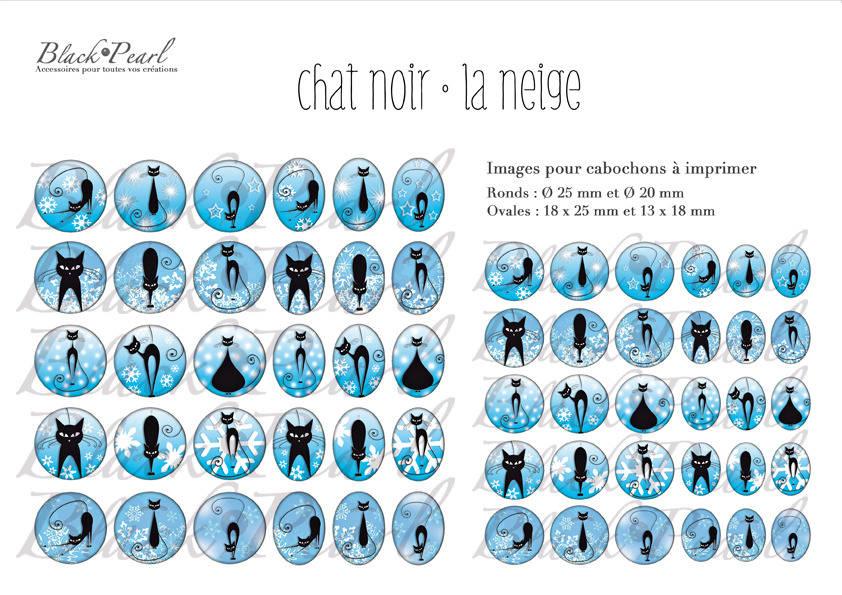 °Chat Noir • La Neige° - Page de collage digital cabochons - 60 images à imprimer