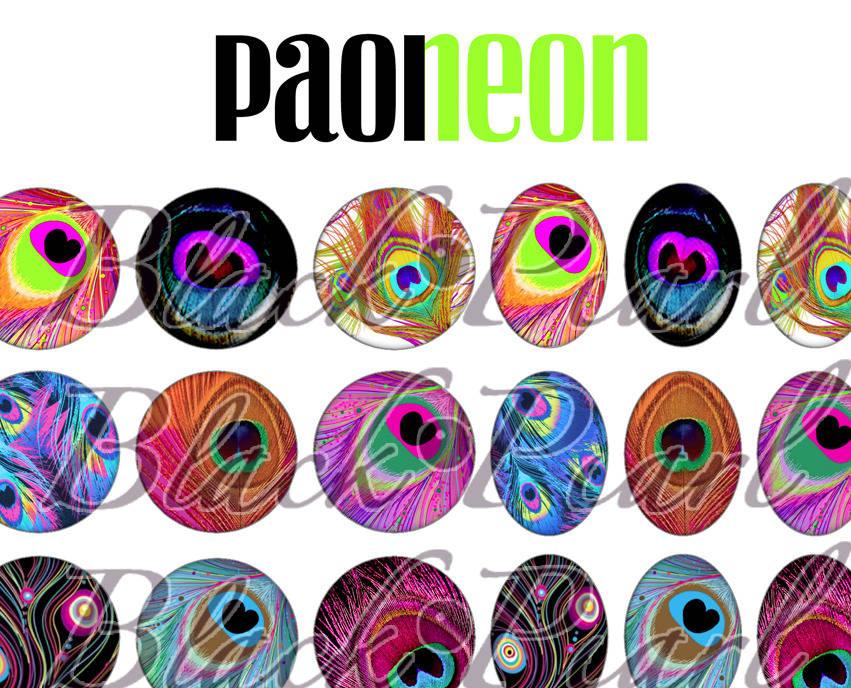 ° Paoneon ° - Page de collage paon digital pour cabochons - 60 images à imprimer