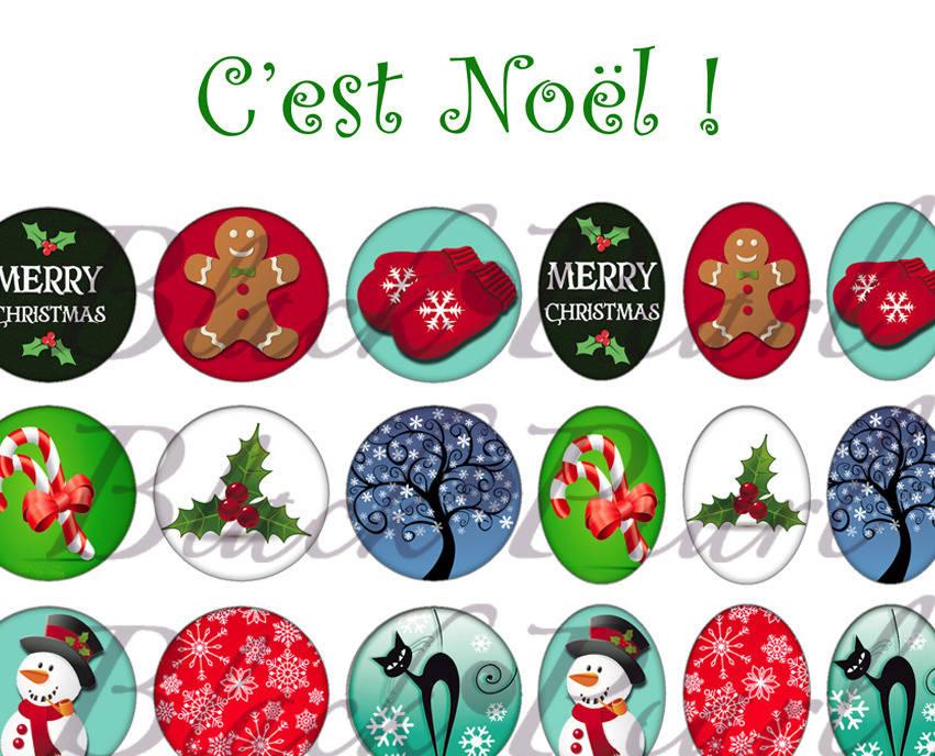 ° C'est Noël ° - Page de collage digital cabochons - 60 images à imprimer