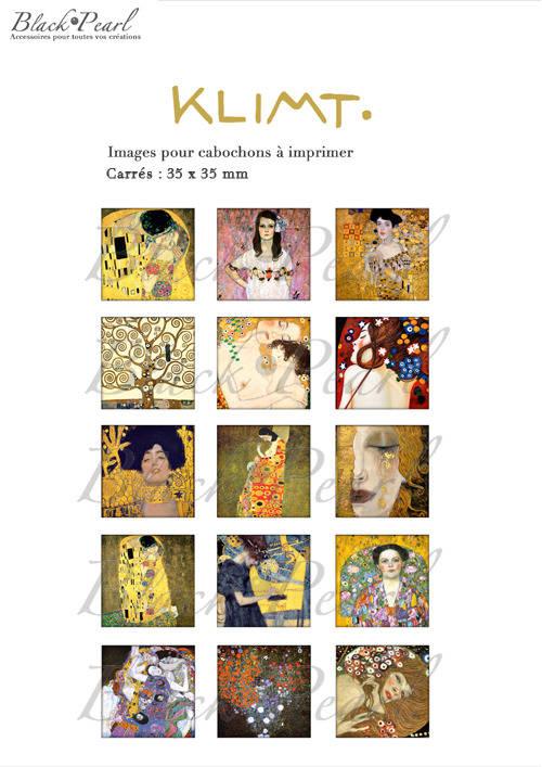 ° KLIMT ° - Page de collage cabochons - 15 images à imprimer