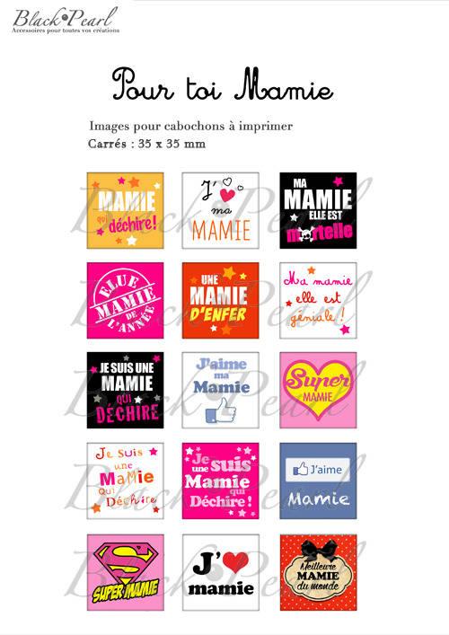 ° Pour Toi Mamie ° - Page de collage cabochons - 15 images à imprimer