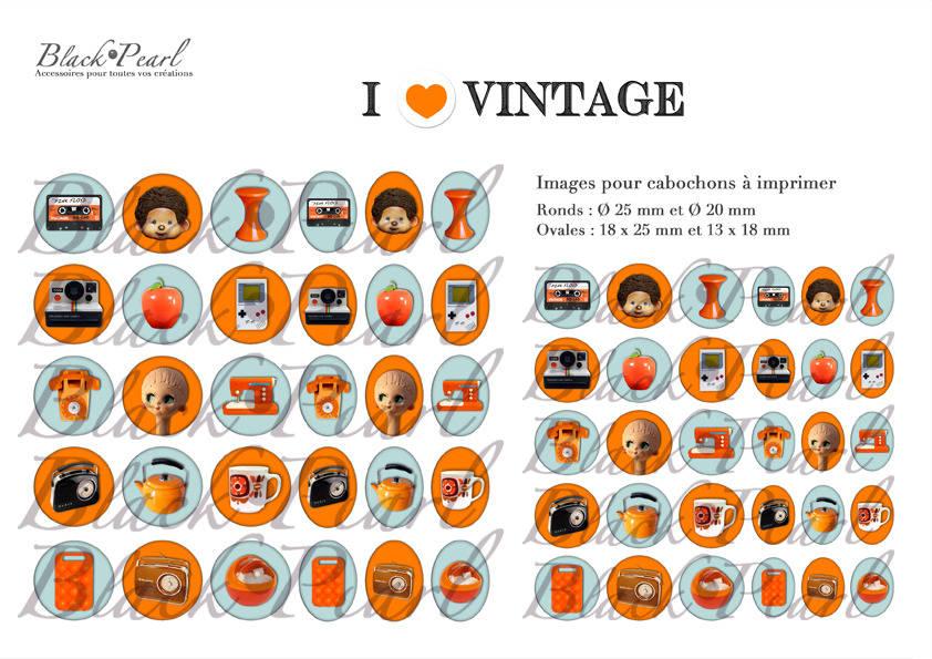 ° I ♥ Vintage ° - Page de collage digital pour cabochons - 60 images à imprimer