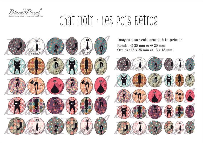 ° Chat Noir • Les Pois Retros ° - Page digitale pour cabochons à imprimer - 60 images à imprimer