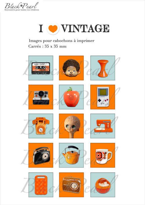 ° I ♥ Vintage °- Page de collage cabochon - 15 images