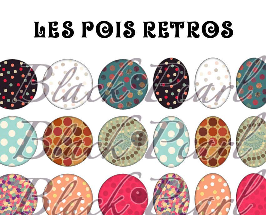 ° Les Pois Retros ° - Page digitale pour cabochons - 60 images à imprimer