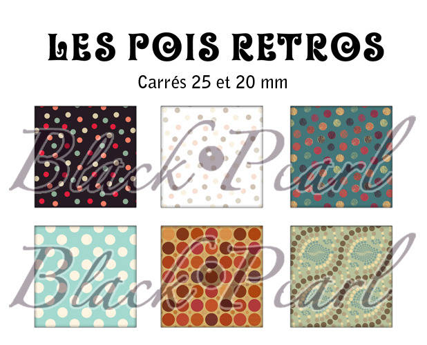 ° Les Pois Retros ° - Page de collage cabochons - 30 images