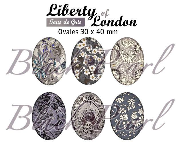 ° Liberty Of London - Tons de gris ° - Page digitale pour cabochons à imprimer - 15 images