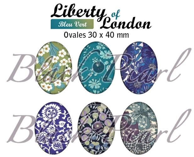 ° Liberty Of London - Bleu Vert ° - Page digitale pour cabochons à imprimer - 15 images