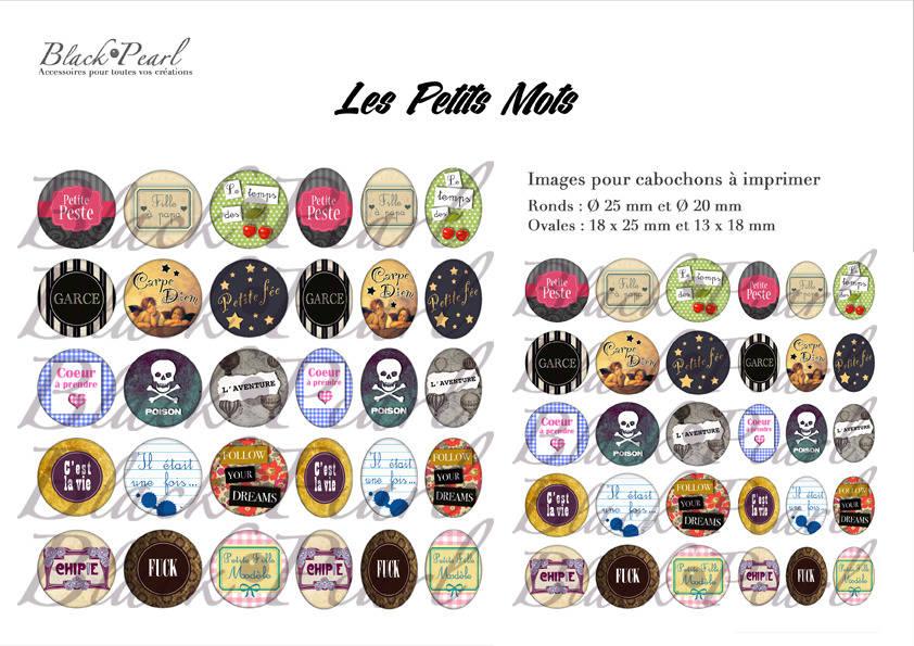 °Les Petits Mots ll° - Page de collage digital cabochons - 60 images à imprimer