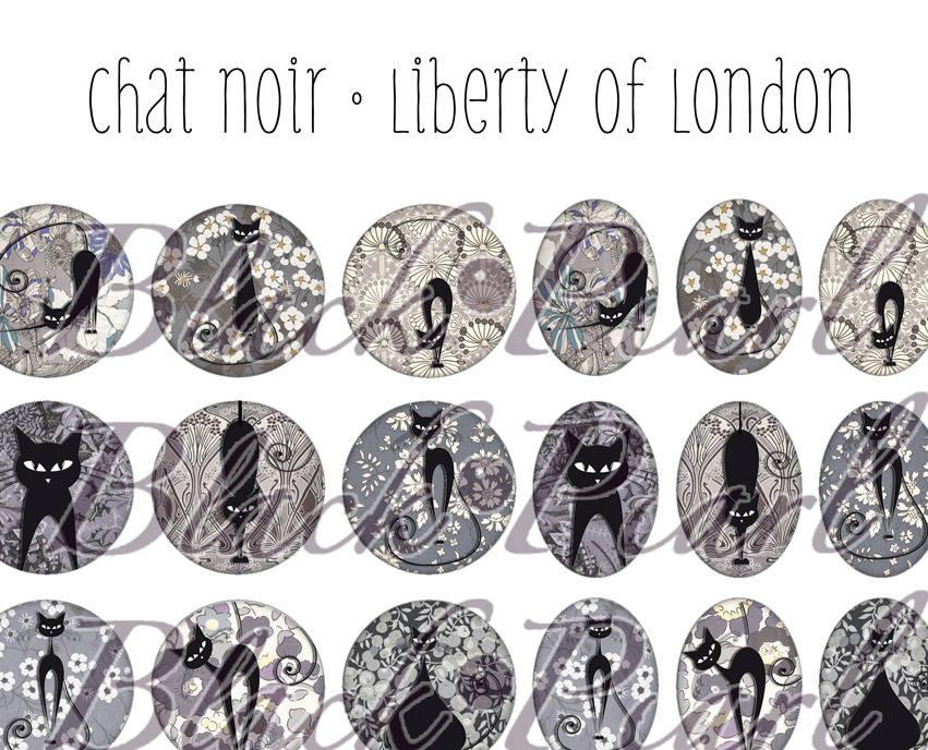 ° Chat Noir • Liberty Of London lV °  - Page digitale pour cabochons 60 images