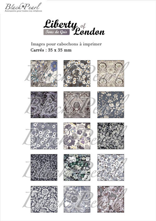 ° Liberty of London Tons de Gris ° - Page digitale pour cabochons à imprimer - 15 images