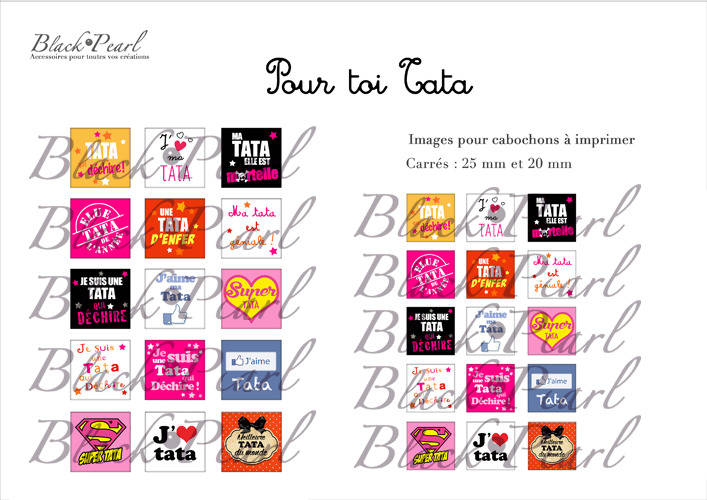 ° Pour Toi Tata ° - Page de collage cabochons - 30 images à imprimer