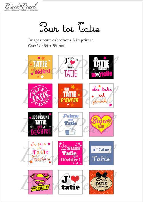 ° Pour Toi Tatie ° - Page de collage cabochons - 15 images à imprimer