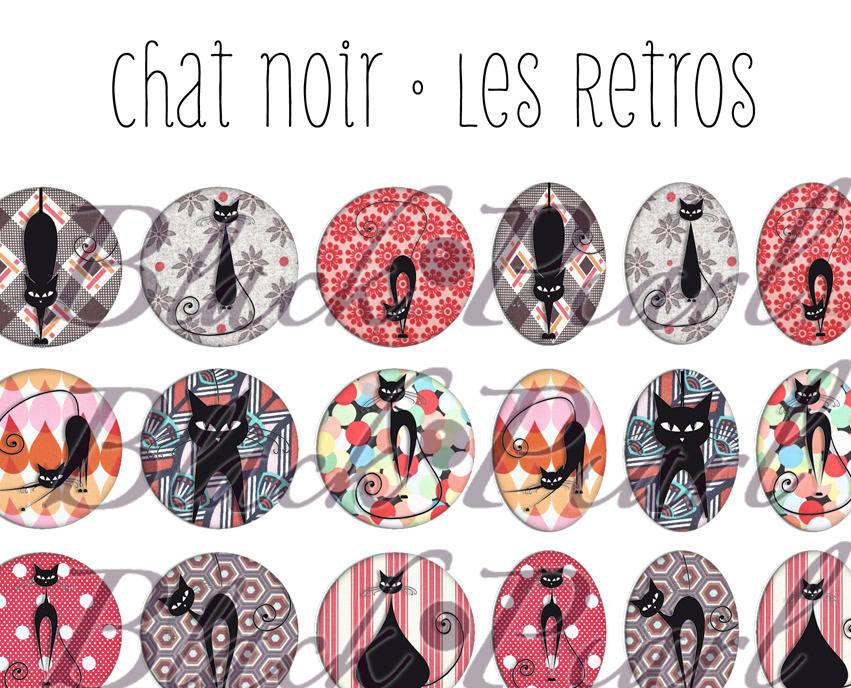 ° Chat Noir • Les Retros ll° - Page digitale pour cabochons - 60 images