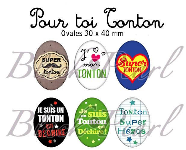 ° Pour toi Tonton ° - Page digitale pour cabochons à imprimer - 15 images