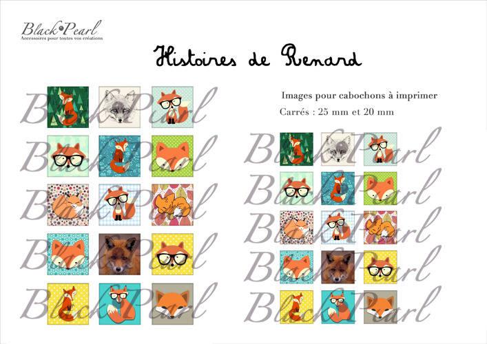 ° Histoires de Renard °- Page de collage cabochons - 30 images à imprimer