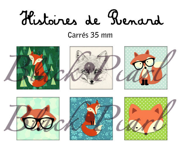° Histoires de Renard °- Page de collage cabochons - 15 images à imprimer