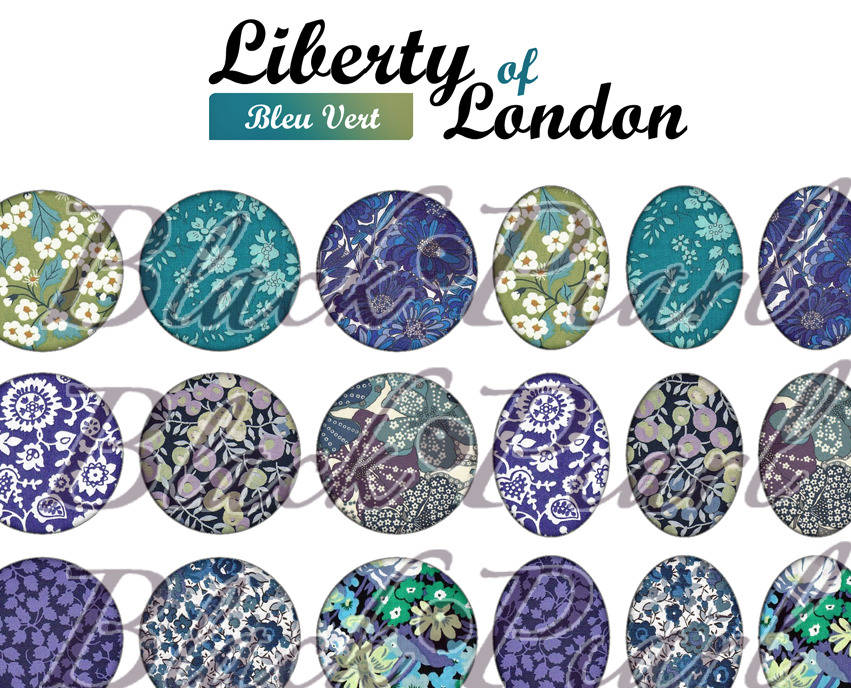 ° Liberty of London - Bleu Vert ° - Page digitale pour cabochons - 60 images