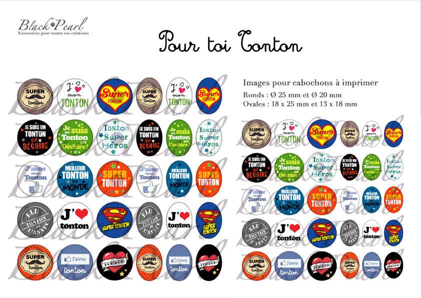 ° Pour toi Tonton ° - Page de collage digital cabochons - 60 images