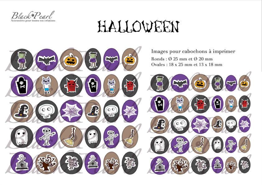 ° Halloween IV ° - Page de collage digital cabochons - 60 images à imprimer