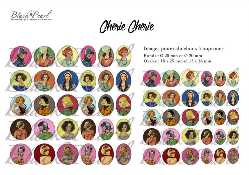 ° Chérie Chérie ° - Page digitale pour cabochons - 60 images à imprimer