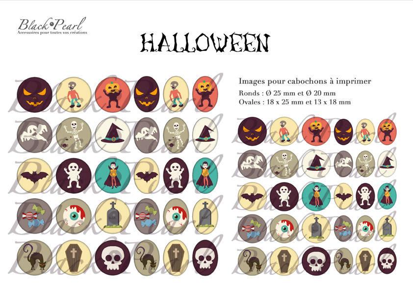 ° Halloween lll ° - Page de collage digital cabochons - 60 images à imprimer