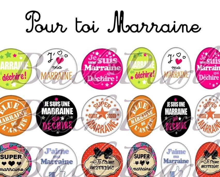° Pour toi Marraine ° - Page de collage digital cabochons - 60 images
