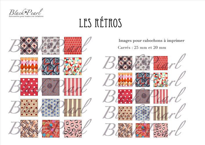 ° Les Retros ll ° - Page de collage cabochons - 30 images à imprimer