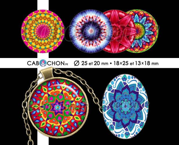 Mandala Mania ll ☆ 60 Images Digitales RONDES 25 et 20 mm OVALES 18x25 et 13x18 mm couleur motif indien rosace page cabochon cabochons