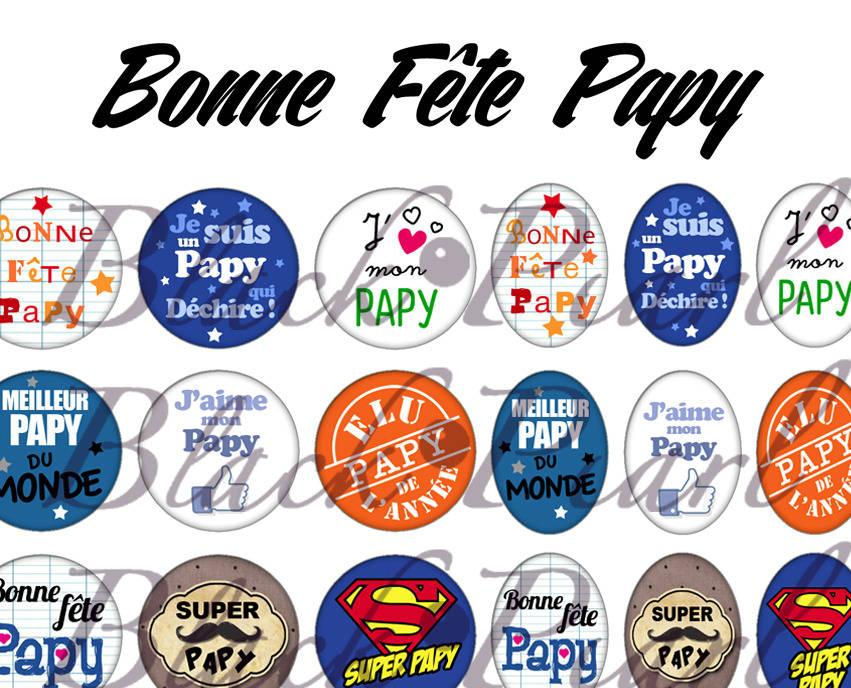 ° Bonne Fête Papy ° - Page de collage digital cabochons - 60 images à imprimer