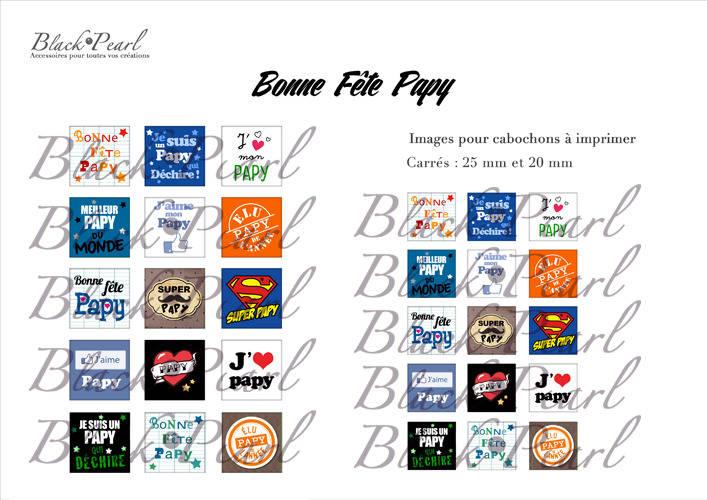 ° Bonne Fête Papy ° - Page de collage cabochons - 30 images