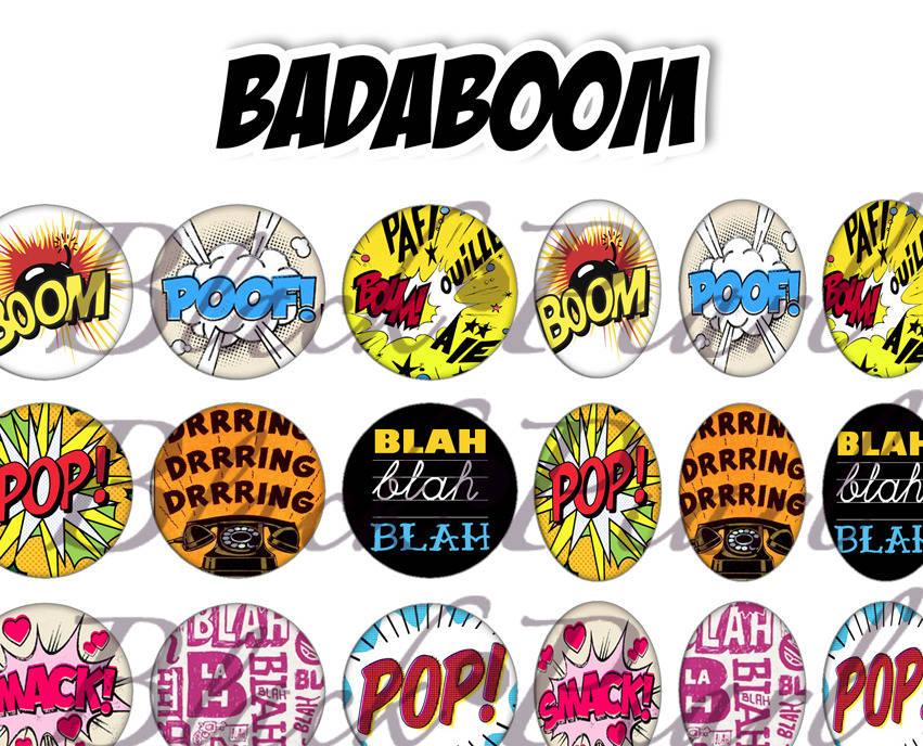 ° Badaboom ° - Page de collage digital cabochons - 60 images numériques à imprimer
