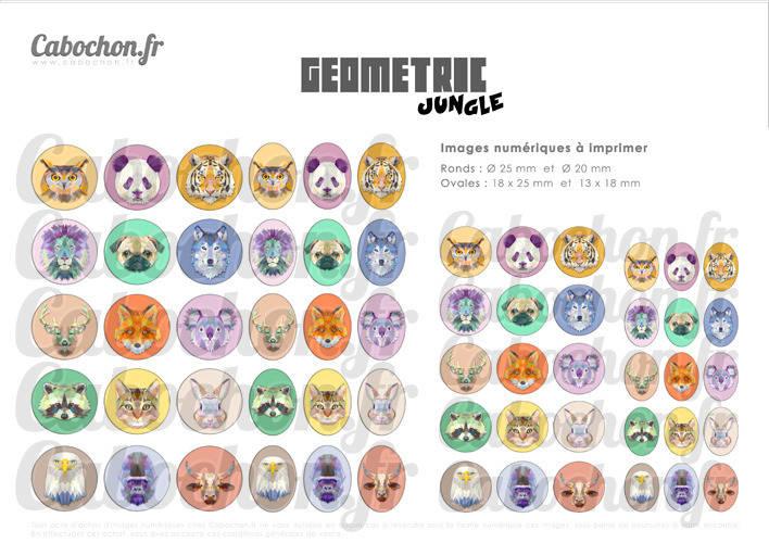 Geometric Jungle ☆ 60 Images Digitales RONDES 25 et 20 mm et OVALES 18x25 et 13x18 mm chien panda lion loup tigre triangle Page