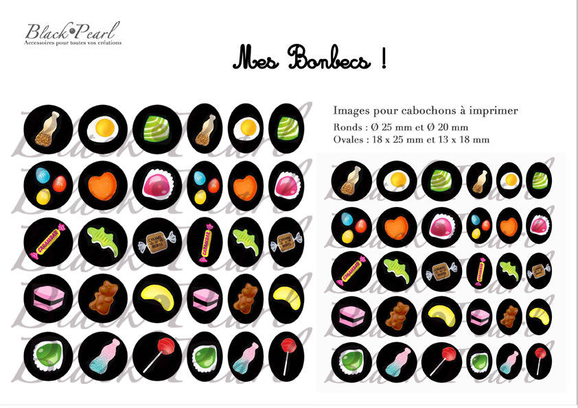 ° Mes Bonbecs ! ° - Page digitale pour cabochons - 60 images à imprimer