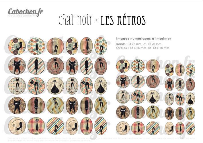 Chat Noir Les Retros ☆ 60 Images Digitales RONDES 25 et 20 mm OVALES 18x25 et 13x18 mm retro vintage kitsch 70 Page cabochon