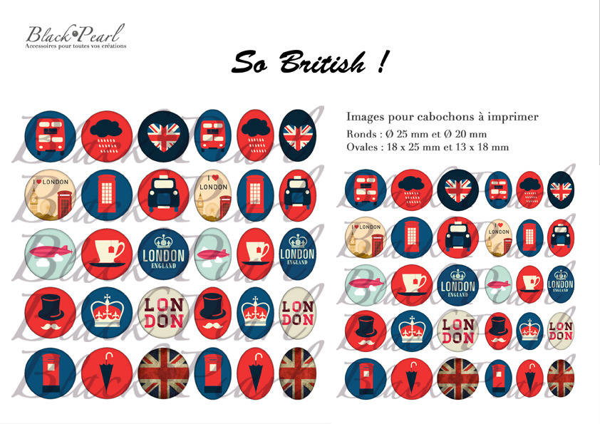 ° So British ! °  - Page digitale pour cabochons 60 images à imprimer
