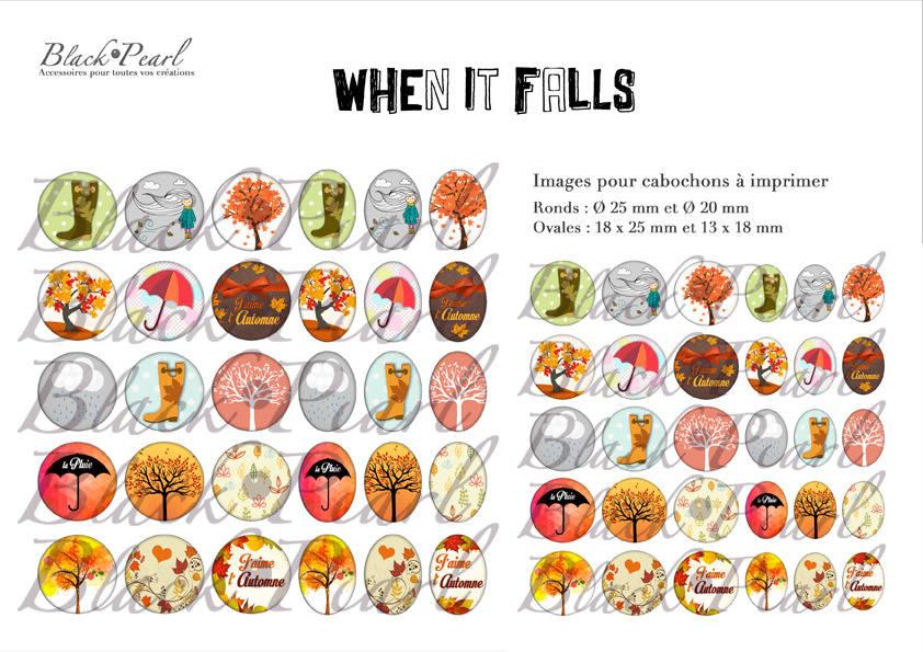 ° When It Falls - L'automne °- Page de collage cabochons - 60 images à imprimer