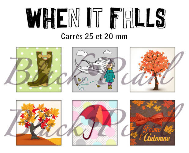 ° When It Falls - L'automne °- Page de collage cabochons - 30 images