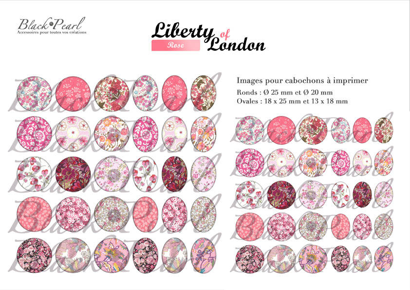 ° Liberty of London - Rose ° - Page digitale pour cabochons - 60 images