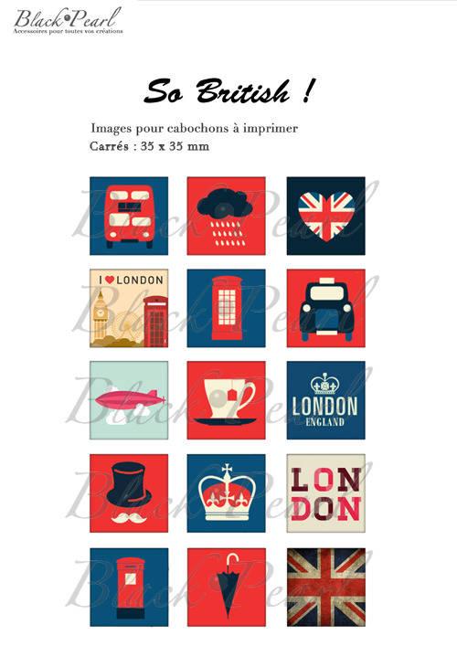 ° So British ! ° - Page de collage cabochons - 15 images
