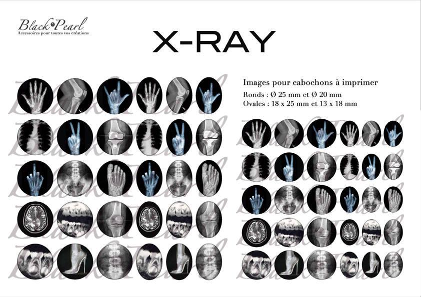 ° X-RAY ° - Page digitale pour cabochons - 60 images  à imprimer