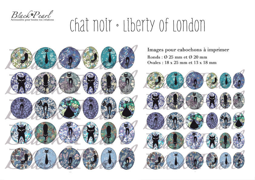 ° Chat Noir • Liberty Of London ll °  - Page digitale pour cabochons 60 images