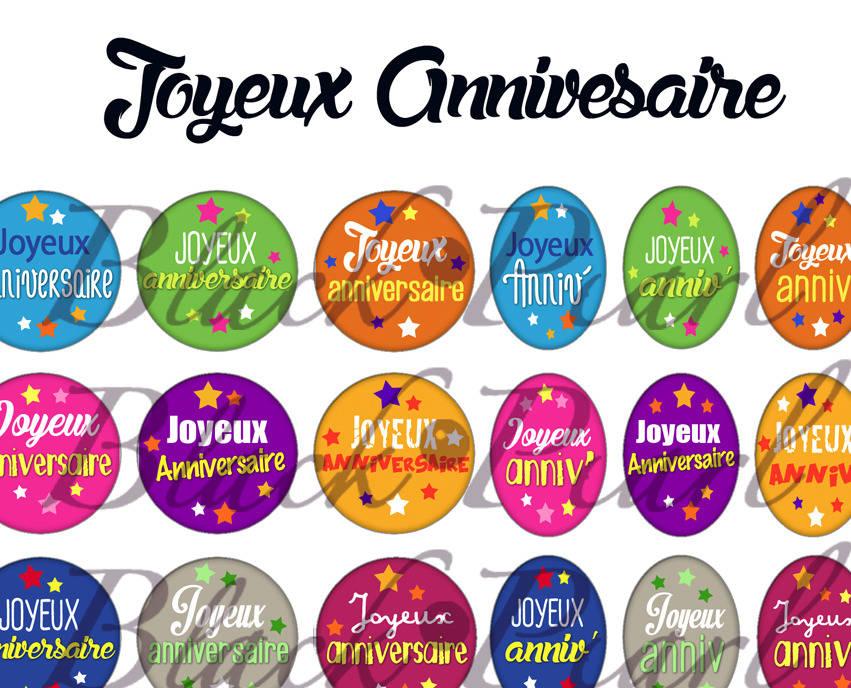 ° Joyeux Anniversaire ° - Page de collage digital cabochons - 60 images à imprimer