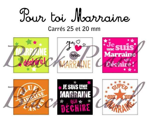 ° Pour Toi Marraine ° - Page de collage cabochons - 30 images