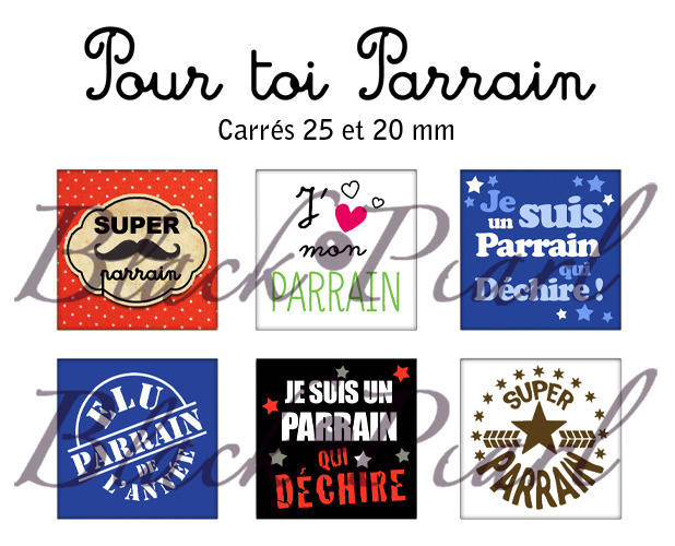 ° Pour Toi Parrain ° - Page de collage cabochons - 30 images